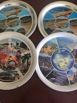 Vintage Souvenir Aluminium Trays Set Of 4 Only Sold Together