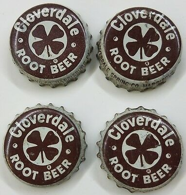 4 CLOVERDALE ROOT BEER HARRISBURG, PA Soda Bottle Cap Crown USED CORK Caps