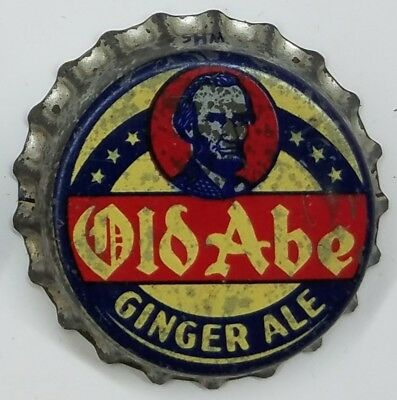 OLD ABE GINGER ALE Soda Bottle Cap Crown USED CORK Caps FROM COLLECTION