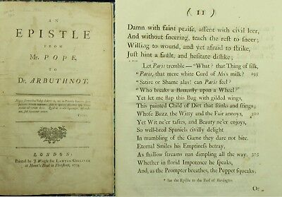 Alexander Pope EPISTLE TO DR ARBUTHNOT Attack on Lord Hervey 1734 1ST EDITION NR