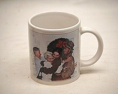 Norman Rockwell Saturday Evening Post Coffee Cup Mug Home For Christmas 1955