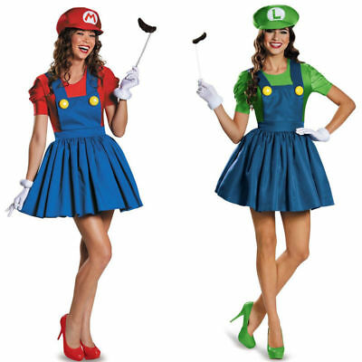 Women's Super Mario and Luigi Skirt Version Adult Costume Mustache Gloves Cap