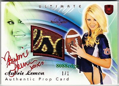 2010 Benchwarmer Ultimate Prop Auto: Aubrie Lemon #1/1 Of One Red Autograph Logo