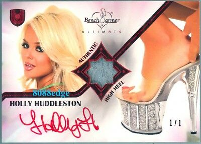 2010 Benchwarmer Ultimate Swatch Auto: Holly Huddleston #1/1 Red Autograph Heel
