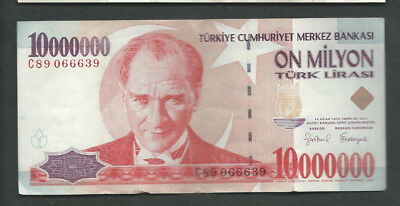 Turkey 1970 (1999) 10000000 (10,000,000) Lira P 214 Circulated