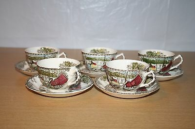 5 Cups & Saucers Johnson Bros Friendly Village Ice House England