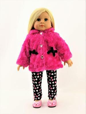 """Hot Pink Furry Jacket Heart Pant Set Fits 18"""" American Girl Doll Clothes"""