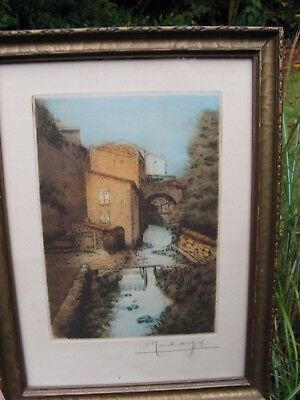 ANTIQUE~etching Original Marcel Augis~France~1900's~WWI era artist~front lines~