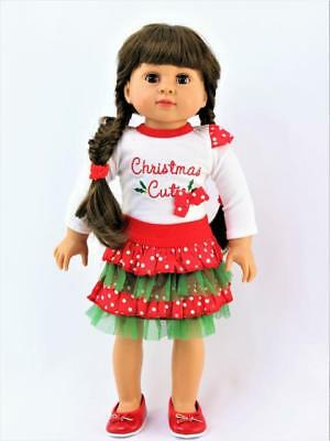 """Christmas Cutie Skirt Set Fits 18"""" American Girl Doll Clothes"""