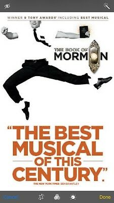 Book Of Mormon - 2 Tix Melbourne 7pm Tuesday  31st October - Grand Circle Row G