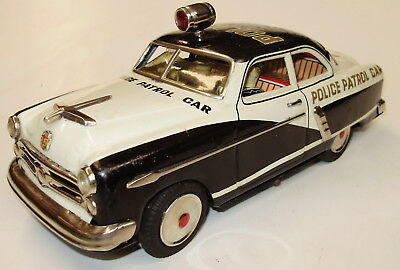 "1952 Ford 2-Door Police Car, Batt Op,SAN (Marusan) Japan 10.5""(27cm) Long No Res"