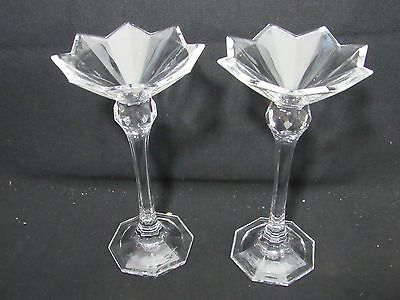 "2 Stunning Lenox Crystal Glass Candle Holders-Votives,Candlesticks 8"" tall,Fancy"