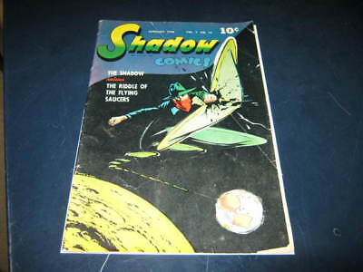 The Shadow Comics Vol 7 #10 Jan 1948 Flying Saucer Outer Space Cover Golden Age