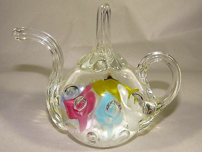 1981 Bob & Maude St.Clair Teapot Ring Holder Paperweight,Controlled Bubble,Nice