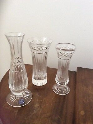 stuart crystal vases x 3 (sold as one lot)