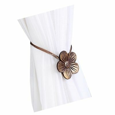 Chictie 1 Pair Vintage Flower Hand Carved Magnetic Tiebacks Ropes Curtain Dra...