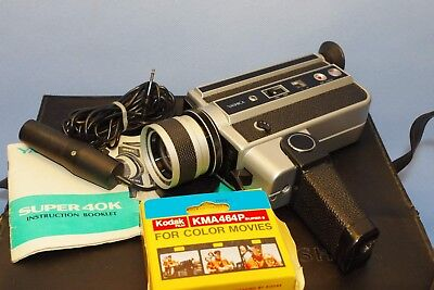 Retro YASHICA Super 40K Super 8 Camera with Remote, Film Instructions and Case