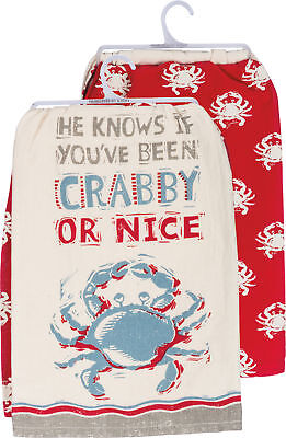 Primitives By Kathy 2-pc. Crab Dish Towel Set 2 Pc Set White/red/blue