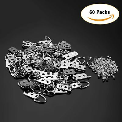 60Pcs 53mm*23mm Heavy Duty D-Ring Picture Hangers Frame Hanging 2 Hole+120 Screw