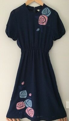 Genuine Vintage Midi Dress, Navy Blue With  Pale Blue & Pink Roses Size Small 8