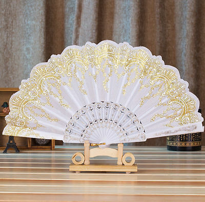 Chinese Style White Dance Wedding Party Lace Silk Folding Hand Held Flower Fan