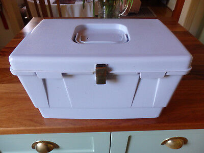 """ Nally "" Sewing Box. Light Blue with insert and cottons, pin cushion , zips etc"