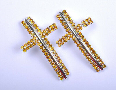 1pcs yellow Crystal Silver Curved Side Ways Cross Findings Jewelry Connectors