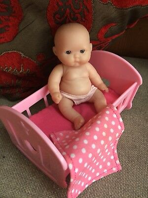 Small Berenguer Toy Mini Doll & Cot