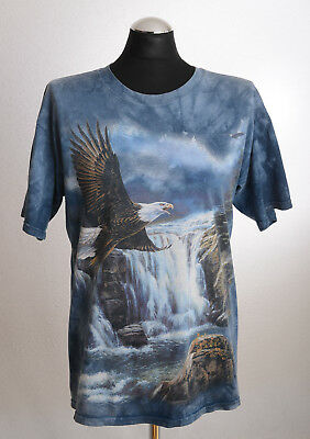 Vintage 80s THE MOUNTAIN Adler All-Over-Print-T-Shirt Wasserfall Tie Dye Gr. M-L