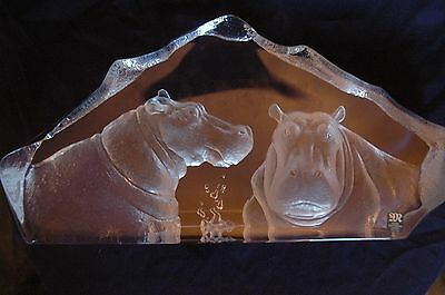 Two Hippos Bathing Signed, Numbered Limited Edition Mats Jonasson Crystal