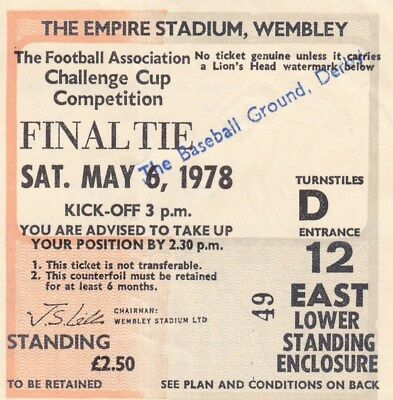 """Ticket: 1978 Fa Cup Final (""""baseball Ground, Derby"""" Stamped On Front)."""