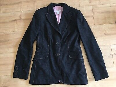 LK Bennett Size 12 Ladies Grey Suit Jacket with Pink Stitching. Excellent Cond