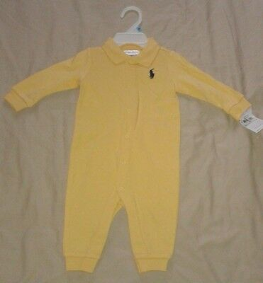 RALPH LAUREN COTTON COVERALL ROMPER BABYGROW PLAYSUIT. YELLOW, 6 M or 9 M, NEW