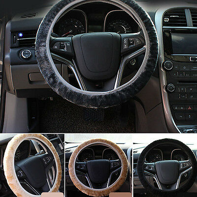 Black Plush Steering Wheel Cover Winter Furry Fluffy Soft Plush Car Wheel