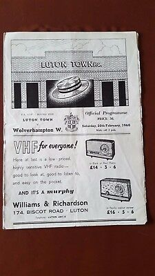 Luton Town V Wolverhampton Wanderers 20.2. 1960 - FA Cup 5th Round
