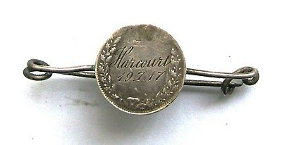 """WW1 SILVER 3d SWEETHEARTS BROOCH ENGRAVED """"HARCOURT 19.7.17"""""""