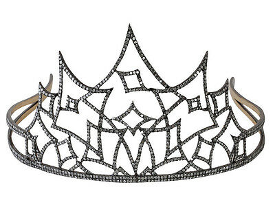 Party Wear Vintage Reproduction 12.25Ct. Rose Cut Diamond Silver Antique Tiara