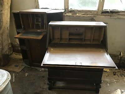 Vintage Desk Writing Bureau and a period wingback chair