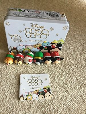 Disney Tsum Tsum Squishies Christmas Collection Gift Tin -6 Special Edition Tsum