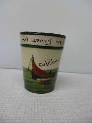 "Motto Ware spill vase/beaker Salisbury ""Be not weary I'm well doing"""