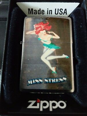 Zippo  Very Rare  Nose Art Pin Up Girl (Miss Stress)
