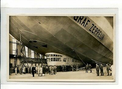 Aviation - Rppc Close Up Of Graf Zeppelin  In Hanger With Black Cachet