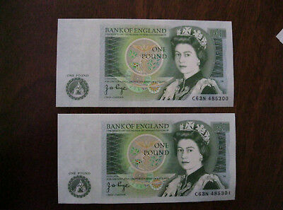Pair Uncirculated Consecutive One Pound Notes - Page ***300/301