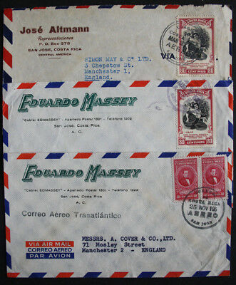 Costa Rica Three 1950s Advertising Air Mail Covers from San Jose to Manchester