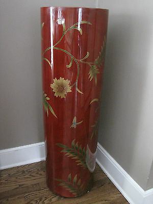 Estate Tall Hand-Painted Red Lacquer Pedestal, 39.5""