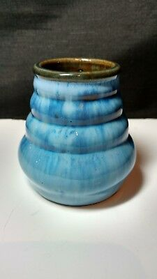 "FULPER Pottery Blue Flambe Glaze 3 1/2"" Small Vase Ribbed Body Impress Mark"