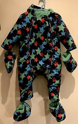 Marks & Spencer All-In-One Fleece lined Snow Suit, navy with stars 12-18 Months