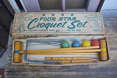 Vintage E&L Manufacturing Four Star No. 501 Croquet Set in Box 1950's 1960's