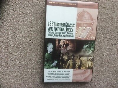 1881 BRITISH CENSUS AND NATIONAL INDEX SET OF CDs. FAMILY HISTORY RESOURCE FILE.
