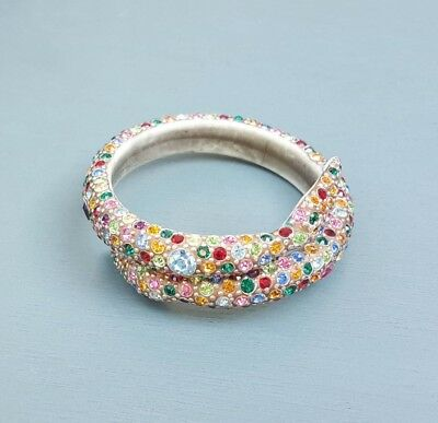 Vintage Art Deco Snake Colorful Rhinestone Bangle Bracelet